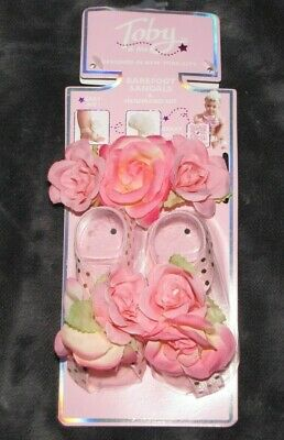 Barefoot Baby Pink Footless Sandals Headband Set Petal Baby Shoes Flower 0-3-6