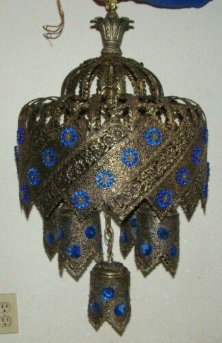 Vtge Turkish/Moroccan Brass Dangle Sconces Blue Glass Chandelier Ceiling Light