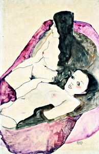 Two reclining Nudes by Egon Schiele A2 High Quality Canvas Print