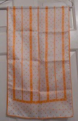 TERRIART Orange & White Poca Dots with Alternating Lines 12x43 Lg Scarf-Vintage