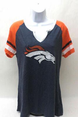 NFL Denver Broncos Womens Shirt Short Sleeve V Neck Blue Orange Denver Broncos Womens Short