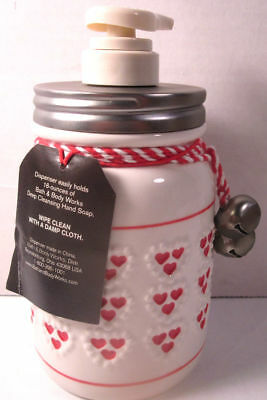 Bath & Body Works Mason Jar 16oz Deep Cleansing Soap Dispenser Pump Hearts (Bell Dispenser)
