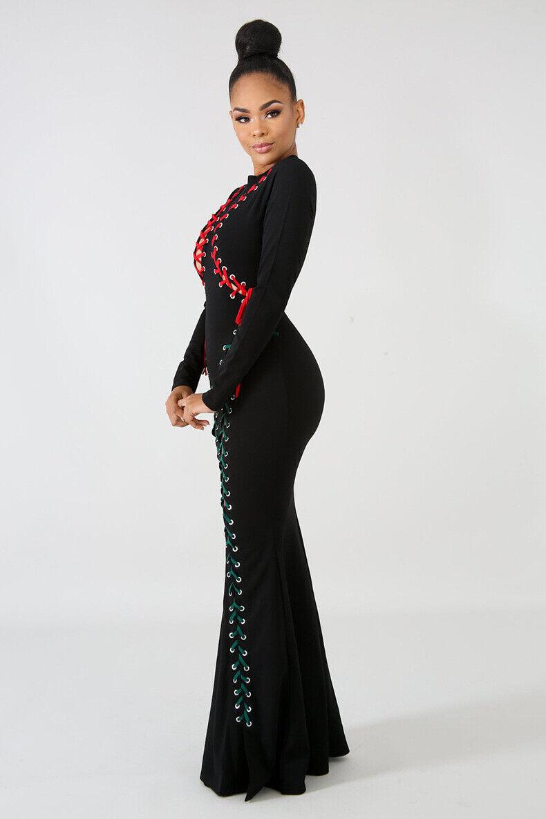 Black Red Green Bodycon Party Night-Club Dress 2