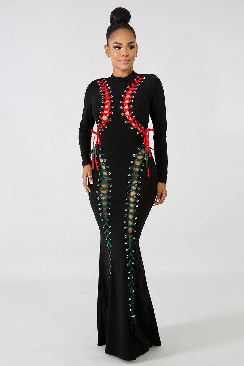 Black Red Green Bodycon Party Night-Club Dress