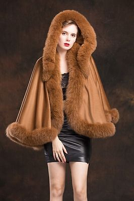 uxury/Real Cashmere Best Fox Fur Cloak poncho with Cap Coat/Wraps/A style
