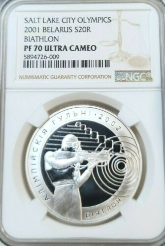 2001 BELARUS SILVER 20 ROUBLES S20R BIATHLON NGC PF 70 ULTRA CAMEO PERFECT POP 1