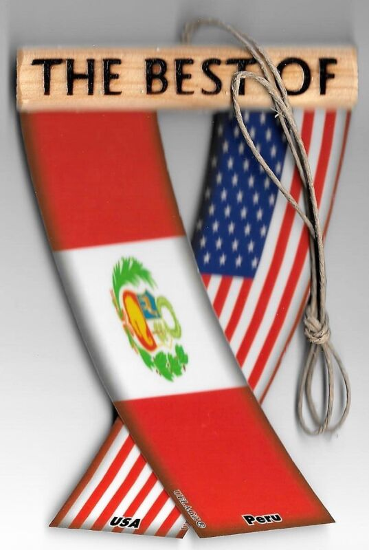 Rear view mirror car flags Peru and USA Peruvian unity flagz for inside the car