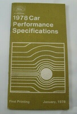 Ford 1978 Car Performance Specifications 78 OEM Specs Guide Dealer Handbook (Glasses Dealer Guide)