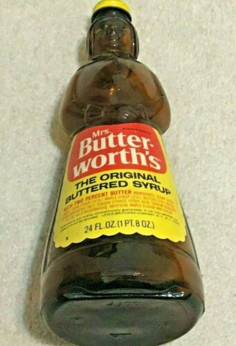 """Mrs. Butterworth's 10"""" Glass Syrup Bottle 24 Oz. With Perfect Label & Metal Lid"""