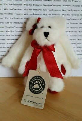 Boyds Bears Faith Angelbeary White Jointed Stuffed Bear Wings Ornament #56240