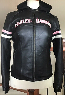 HARLEY DAVIDSON Womens 1W (XL) Vented Pink 3 in 1 Leather Jacket W/ Hoodie Liner