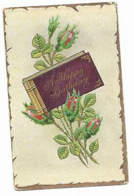 Vintage Greetings Postcard Happy Birthday Album Red Roses Buds Embossed Happy Birthday Red Roses