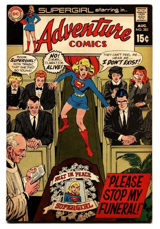 Adventure Comics #383 comic book 1969- Supergirl- Funeral cover- DC Comics