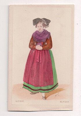 Vintage CDV Handbemalt Lady Alsace Frankreich Traditionell National Kostüm