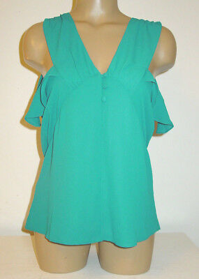 (Express blue blouse cami top ruffle trim V neck front back sleeveless-S-NEW)