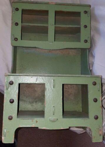 Vintage Green Heavy Cardboard Childs Stepback Cupboard