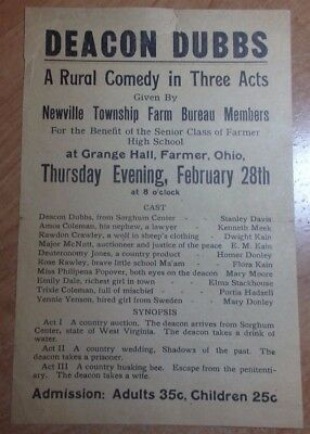 1920'S PLAY FLYER, DEACON DUBBS RURAL COMEDY GRANGE HALL FARMER OHIO