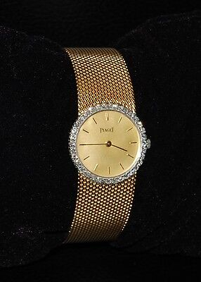 Solid 18K Gold Piaget with Diamonds 18 Jewel Swiss Made Mechanical Watch vintage