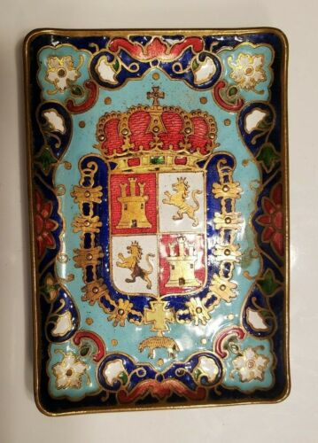 "ANTIQUE GERMAN ENAMELTRAY - HERALDIC CREST - 3 5/8"" BY 2 1/2"""