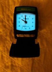 Timex Indiglo Night-light Analog Compact Folding Travel Alarm Clock Black