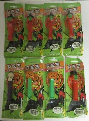 Vintage 1980s Lot of 8 HALLOWEEN Pez Candy Dispensers WITCH Pumpkin Skeleton NEW