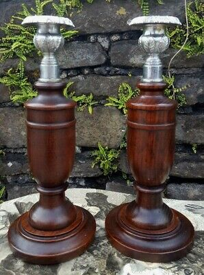 1930's, Art Deco' Antique Oak Wooden Tulip x 2  Candle Stick holders