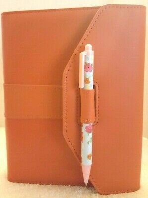 ORANGE MINI 6 RING BINDER AGENDA PLANNER ORGANIZER WALLET JOURNAL AND FLOWER PEN