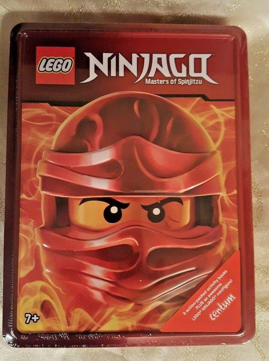 LEGO Ninjago Gift Set Tin~3 activity books + minifigure New!