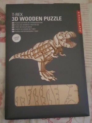 Kikkerland T-Rex Dinosaur 3D Wooden Laser Cut Puzzle 51 Piece (No Glue or Tool) ()