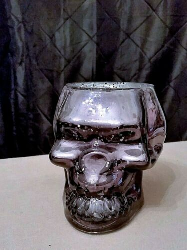 Celebrate It RAVENSHEAD MANOR Black-Silver Glass SKULL Candle Holder