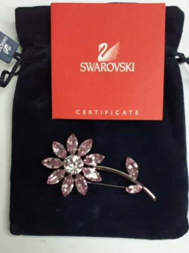 Swarovski Mauve Crystal Flower Pin Brooch with Pouch COA