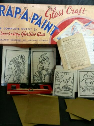 Vintage 1950 RAP-A-PAINT Glass Craft Kit w/ box and instructions