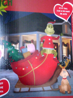 Christmas Santa 12 Ft Dr Seuss The Grinch Max Sled Sleigh Airblown Inflatable
