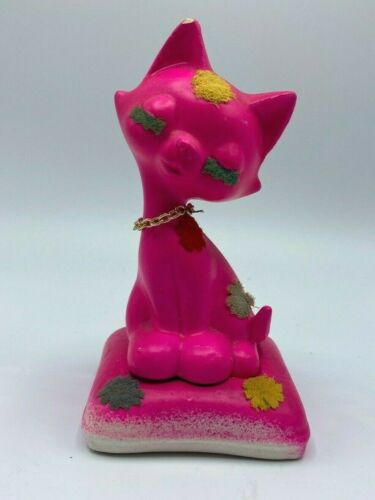 Vintage Mid Century Modern Pink Cat Salt And Peper Shakers With Felt Accents