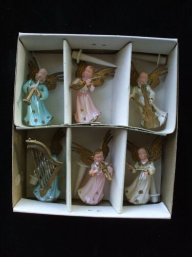 Vintage Christmas Angel Figures Musical Musician Pink Blue White Hong Kong Box