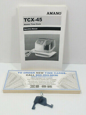 Amano Tcx-45 Atomic Time Clock 2 Keys - Operation Manual - 50 Time Cards Bundle