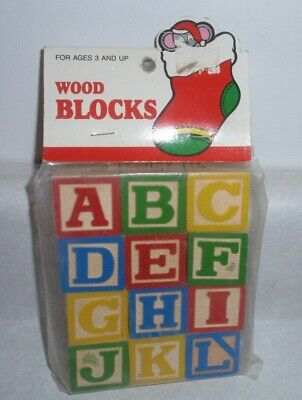 Vintage Wooden Alphabet Blocks Assorted 12 Count Non-toxic