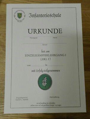 URKUNDE Einzelkämpfer Leistungslehrgang EK 1 Bundeswehr Infanterieschule