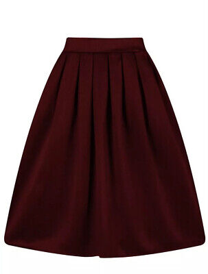 A-Line Pleated Vintage Burgundy Skirt Small S
