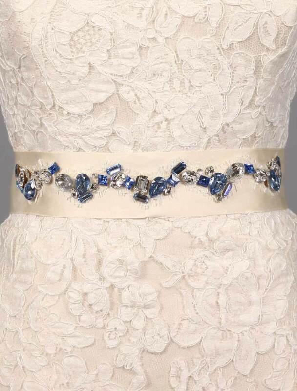 Ossai SS11-SH-24 Embellished Crystals Ivory Ribbon Blue Bridal Sash Belt
