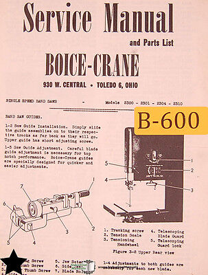 Boice Crane 2300 2301 2304 2310 Single Speed Band Saw Service And Parts Manual