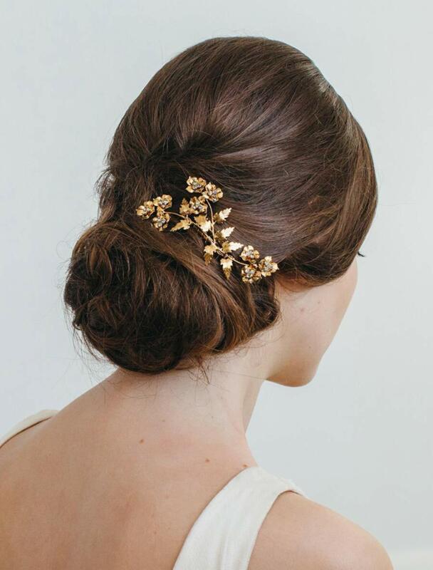Jennifer Behr Aveline Swarovski Crystals Gold Floral Flower Bridal Hair Comb NEW