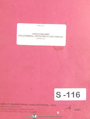 Southwestern Industries Trak Mx2 Milling Programming Operations Manual 1994