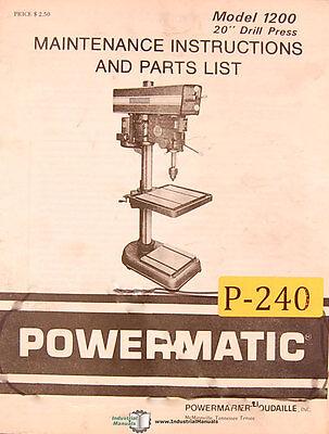 Powermatic 1200 20 Drill Press 31 Page Maintenance Parts Assembly Manual 1979