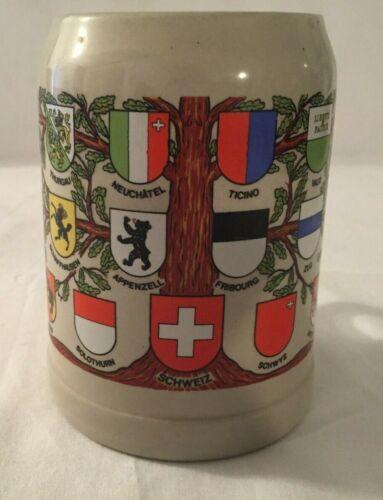Switzerland Coats of Arms on Tree Gray Ceramic Stein