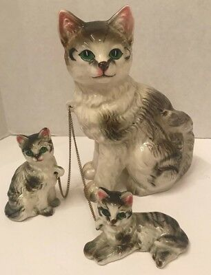 Vintage ceramic Japan mother cat with 2 kittens on chain tabby stripes for sale  Shipping to Canada