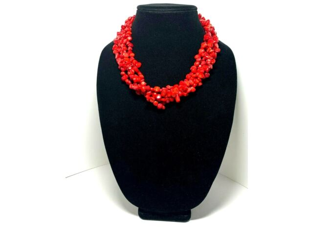 Vintage LUCAS LAMETH Red Coral Necklace Sterling Silver Multi Strand 925
