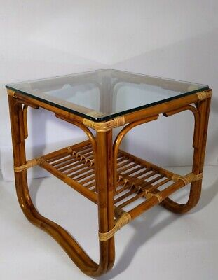 Vintage 2-Tier Bamboo/Cane Rattan End Table Glass Top - Mid Century Modern Boho Glass Rattan End Table