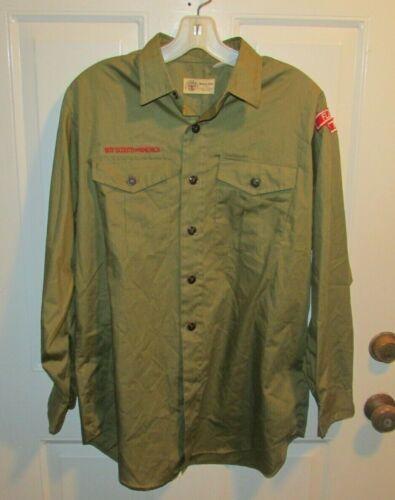 BSA 15 1/2 Official Scout Shirt Olive Green Neck Men