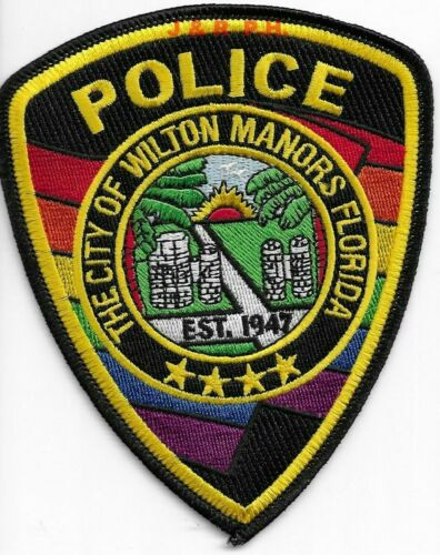 """City of Wilton Manors, Florida  (4"""" x 5"""" size) shoulder police patch (fire)"""